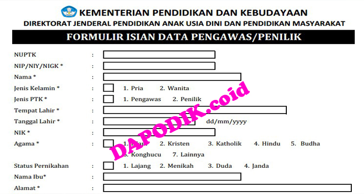 Download Instrumen DAPOTENDIK Pengawas/Penilik PAUD