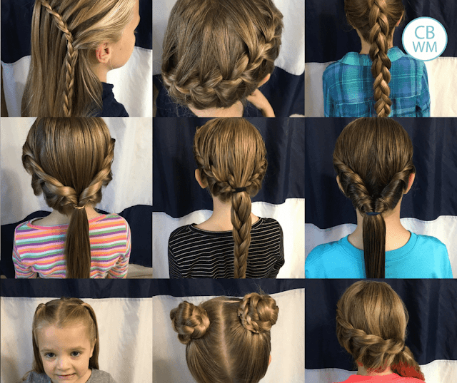Over 70 Beautiful and Easy Hairstyles for Girls. These are hairstyles that your daughter can wear to school. Included are braids, ponytails, up dos, buns, pigtails, and half-up dos.
