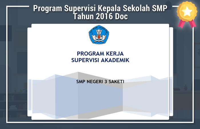 Program Supervisi Kepala Sekolah SMP Tahun 2016 Doc