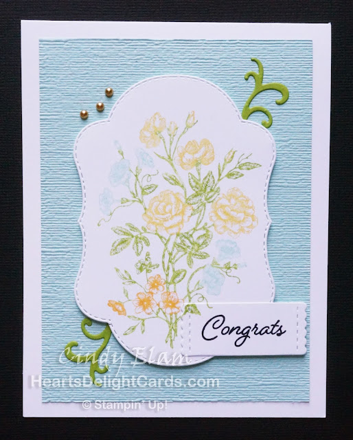 Heart's Delight Cards, Very Vintage, Stitched Seasons Framelits, Congrats, Stampin' Up!