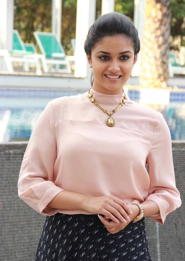 Keerthi Suresh Long Hair In Pink Top Black Skirt