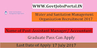 Water and Sanitation Management Organization Recruitment 2017– 77 Assistant Manager/ Accountant