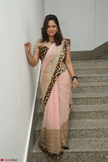 Shilpa Chakravarthy in Lovely Designer Pink Saree with Cat Print Pallu 006.JPG