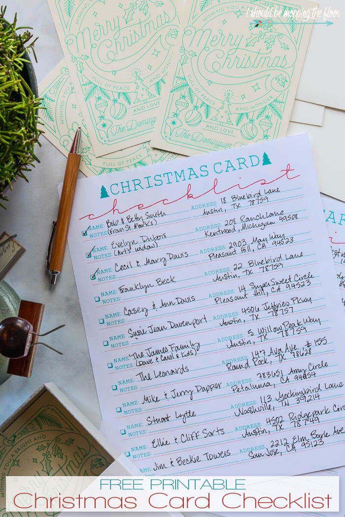 image regarding Printable Christmas Card List named Free of charge Printable Xmas Card Checklist i should really be mopping the