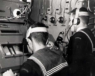 WW2 Battle of Britain - ASDIC -Canadian sailors operating ASDIC -Photo by William H. Pugsley- National Archives of Canada- PA-139273