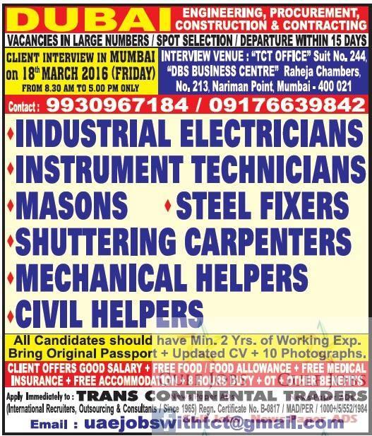 Construction company jobs for Dubai - Gulf Jobs for Malayalees