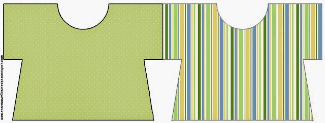 Tarjeta con forma de camisa de Verde, Azul y Naranja.