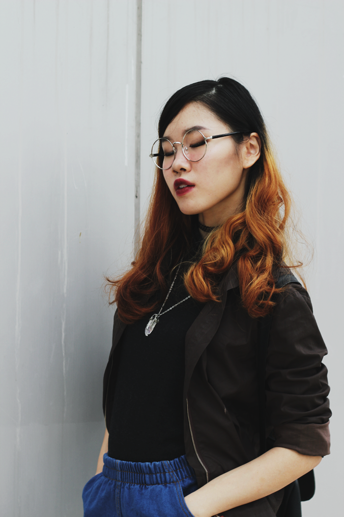 Brunei Style Blogger May Cho of The Mayden | Bomber Jacket, Fishnets, ankle boots, glasses, fashion blogger, style blogger, lifestyle blogger, storyteller