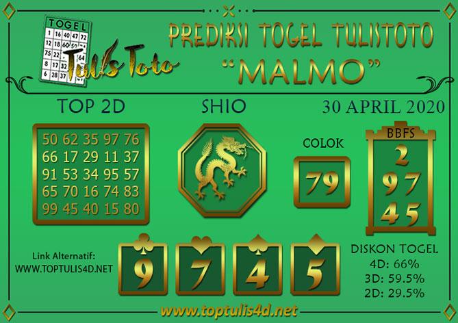 Prediksi Togel MALMO TULISTOTO 30 APRIL 2020