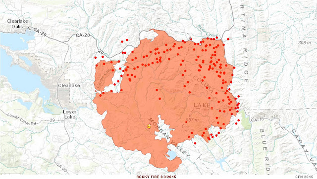CA-LNU Rocky Fire Perimeter and Hotspot map