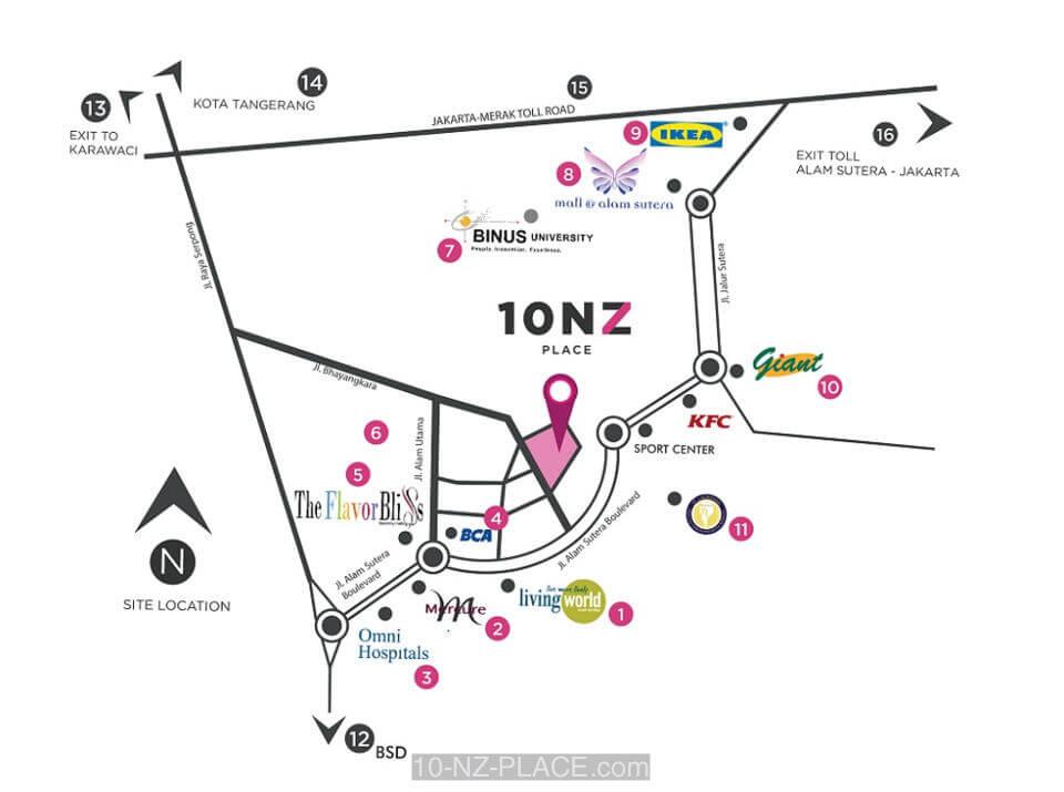 Peta Lokasi 10 NZ Place Alam Sutera