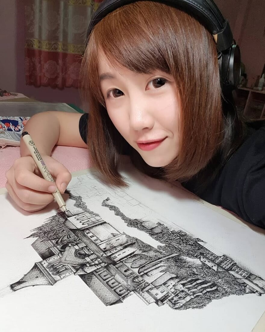 03-Artist-at-work-Emi-Nakajima-Detailed-Architectural-Drawings-Real-and-Imaginary-www-designstack-co