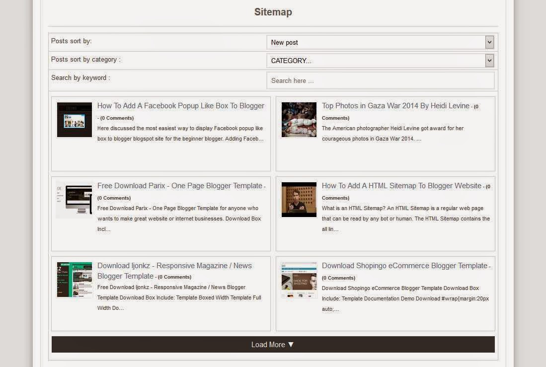 Sitemap To Blogger With Post Thumbnails