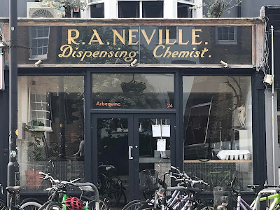 Old sign for R.A.Neville, Dispensing Chemist, Cowley Road, Oxford