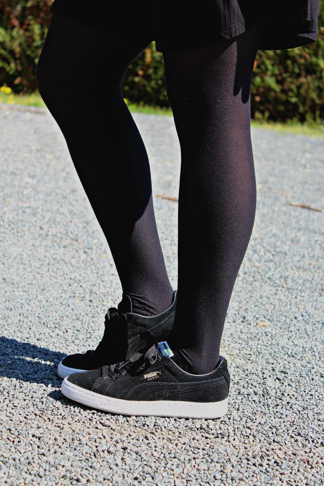 puma suede noir porté