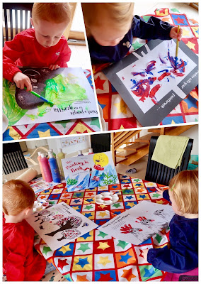 Children painting in a book