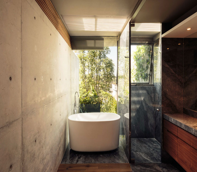 Marble bathroom with outdoor view