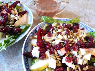 Pear Cranberry and Nut Salad with Blue Cheese