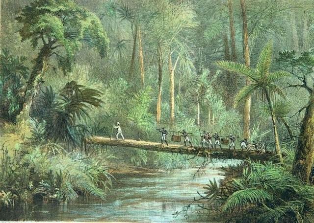 Menyeberang Sungai Benangan di pedalaman Kalimantan.