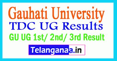 Gauhati University TDC UG Results GU UG 1st/ 2nd/ 3rd Result