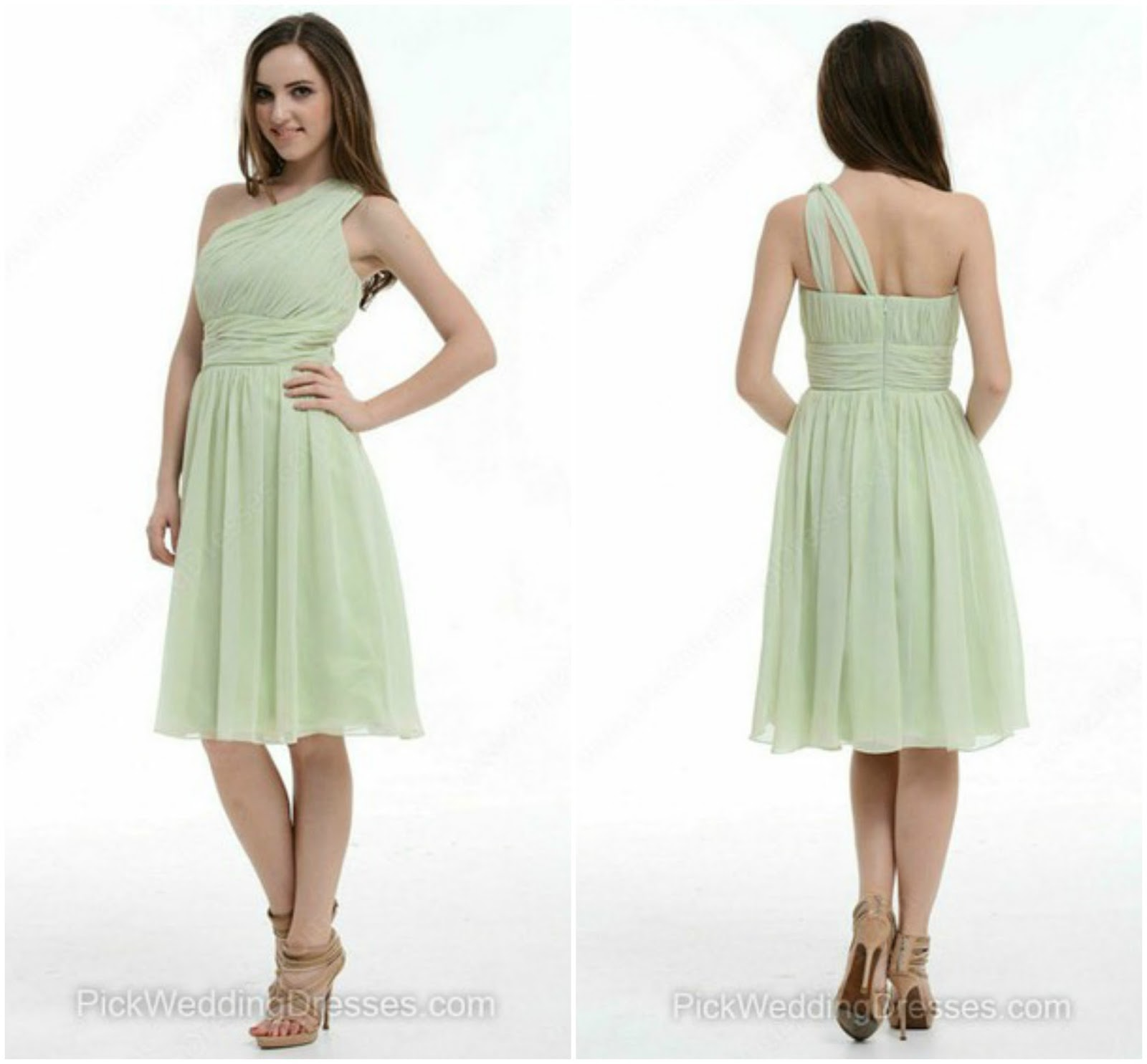 One Shoulder Chiffon Ruffles Online Knee-length Bridesmaid Dresses