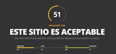 Valoración de la herramienta website.grader.com del sitio web de Maset