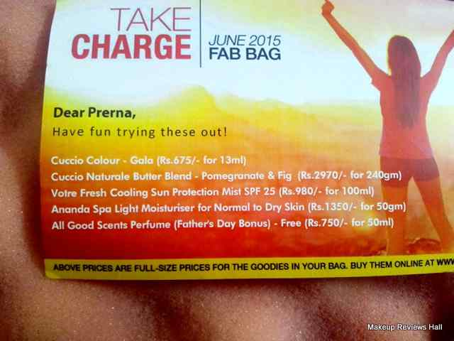 Fab Bag June 2015 Product List