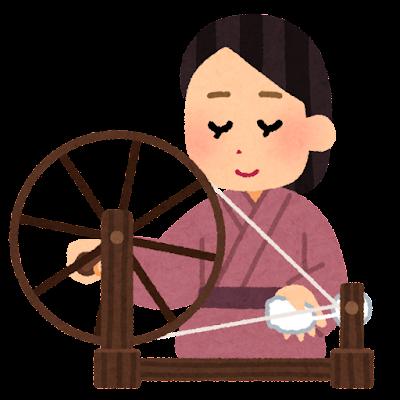 糸車を回す人のイラスト