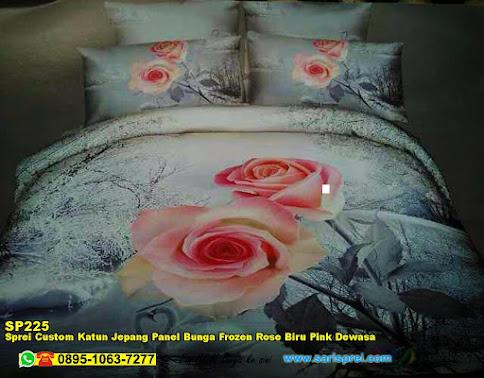 Sprei Custom Katun Jepang Panel Bunga Frozen Rose Biru Pink Dewasa
