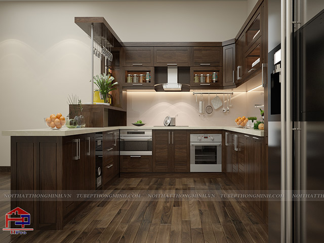 Mẫu tủ bếp gỗ óc chó do Hpro thiết kế