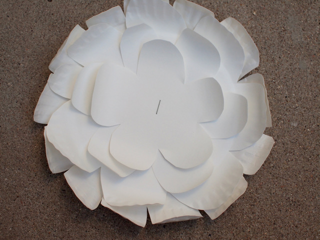 Staple the four flowers together to create paper plate flowers