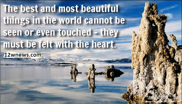 The best and most beautiful things in the world cannot be seen or even touched - they must be felt with the heart.