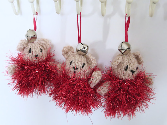 Christmas Knitted Bear Tree Decorations Pattern