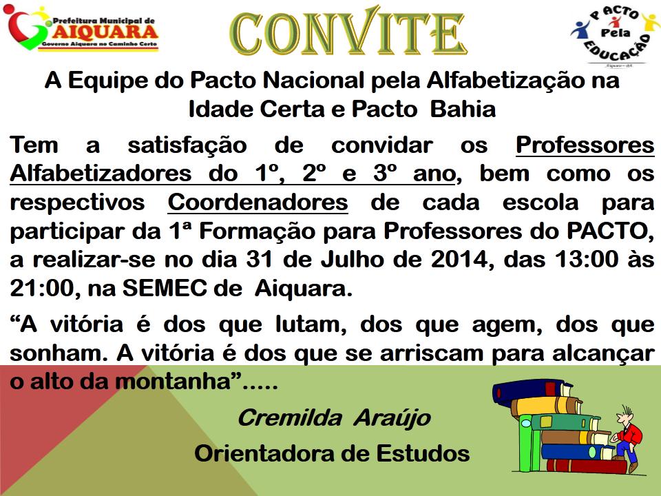 Convite Para 1ª Formação Do Pacto Bahia E Pnaic 2014