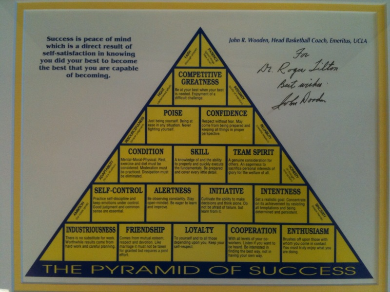 picture regarding John Wooden Pyramid of Success Printable named Pink Purses: Train Picket Pyramid Of Achievement