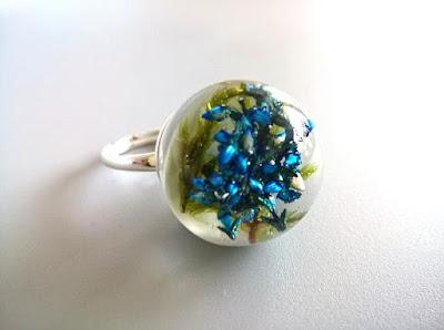 pierścionek srebro i żywica