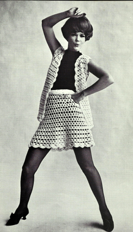 The Vintage Pattern Files: Free 1960's Crochet Pattern - Go-Go Mini Skirt & Vest