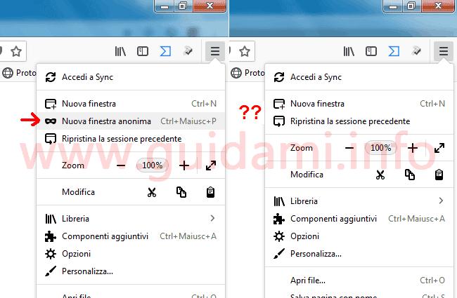 Menu contestuale Firefox con e senza opzione Nuova finestra anonima