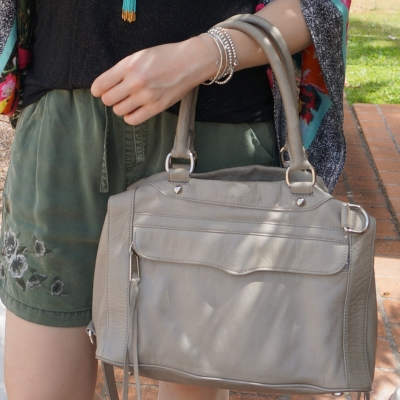 olive shorts and rebecca minkoff soft grey MAM mini MAB bag | awayfromtheblue