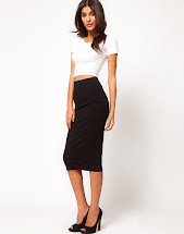 Pencil Skirt with White T-Shirt