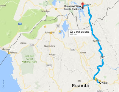 Only about 120km from Kigali to Lake Bunyonyi in Uganda