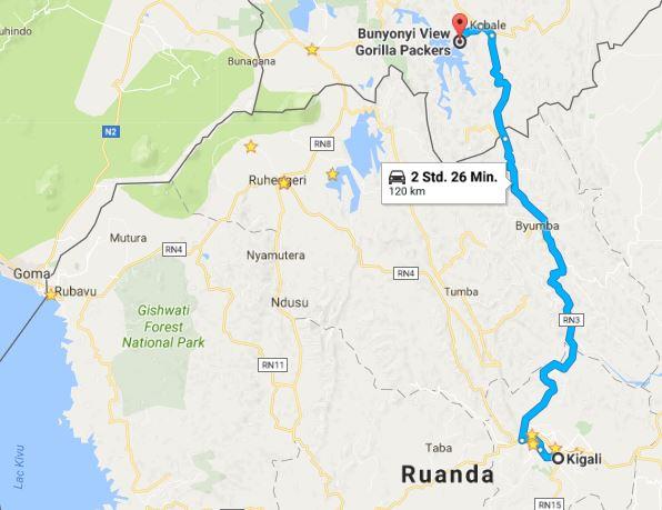 Only about 120km from Kigali to Lake Bunyonyi in Uganda