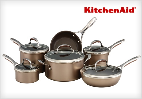 Wagjag 79% Off KitchenAid 11-Piece Non-Stick Cookware Set $149.99 ($699 Value)