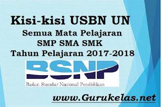 Kisi-kisi USBN UN Semua Mata Pelajaran SMP SMA SMK Tahun Pelajaran 2017-2018
