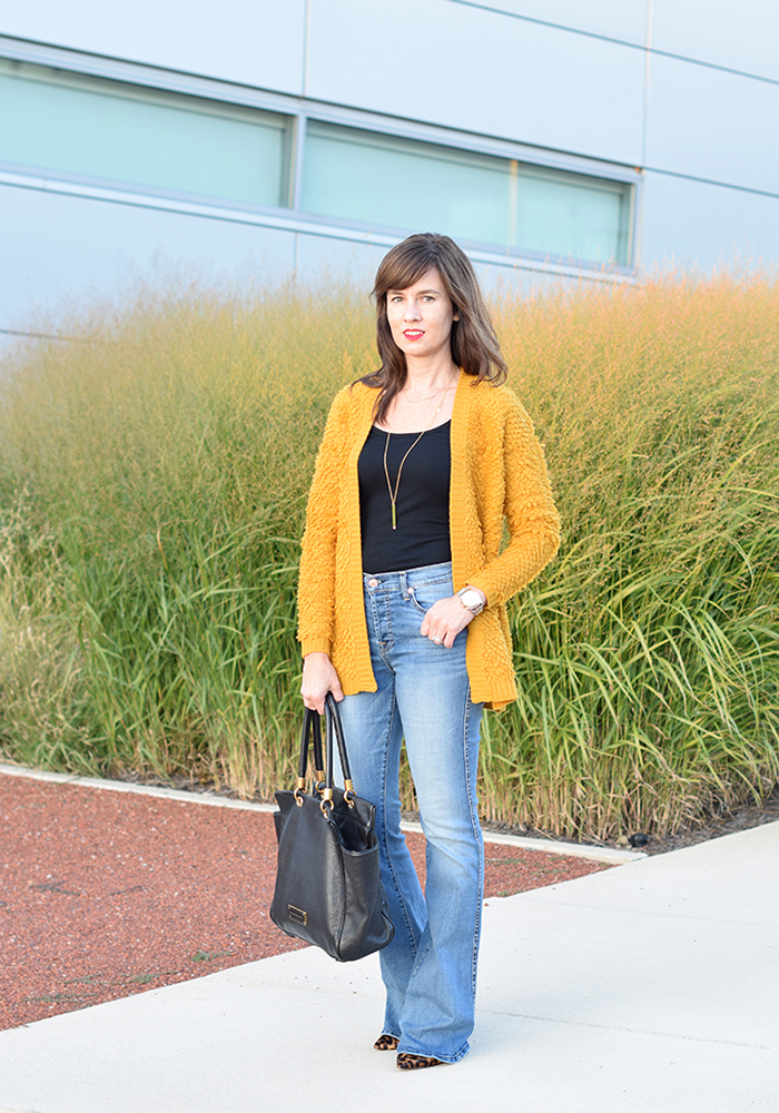 yellow cardigan, forever 21, cozy cardigan, fall style, over 40 style, shopbop sale