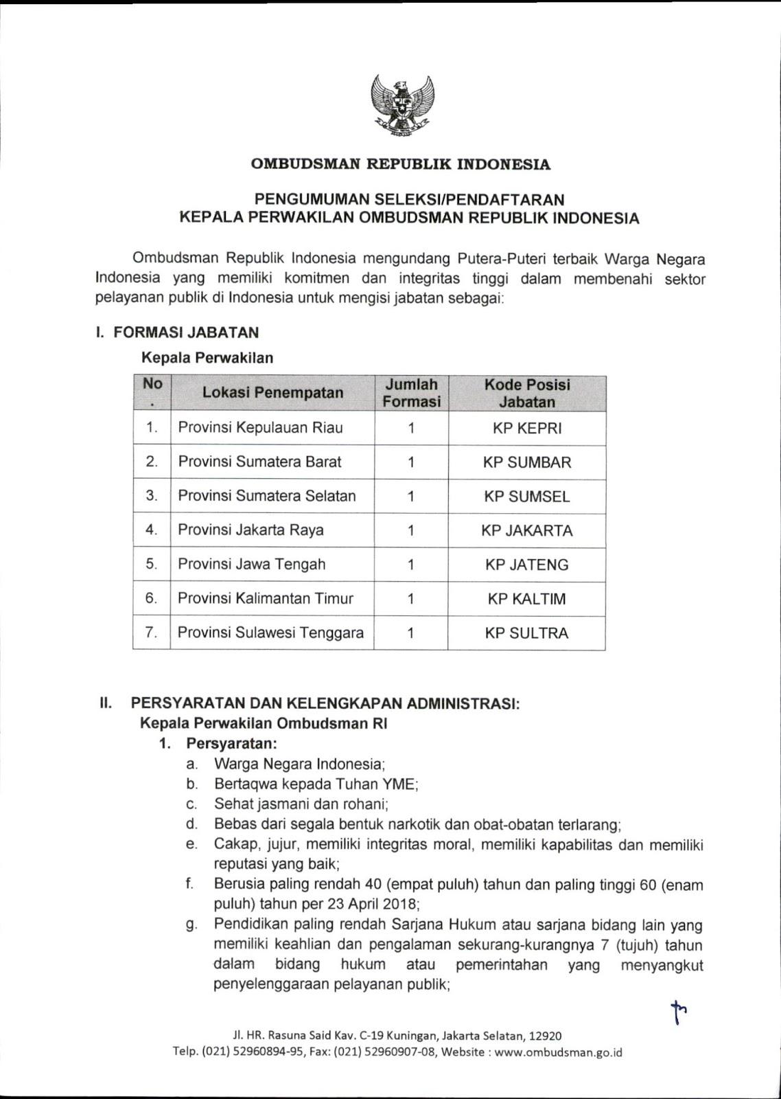 Lowongan Kerja   Terbaru Ombudsman Republik Indonesia  Agustus 2018