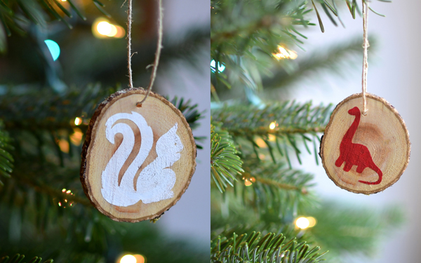 Woodland animals wood slice ornaments