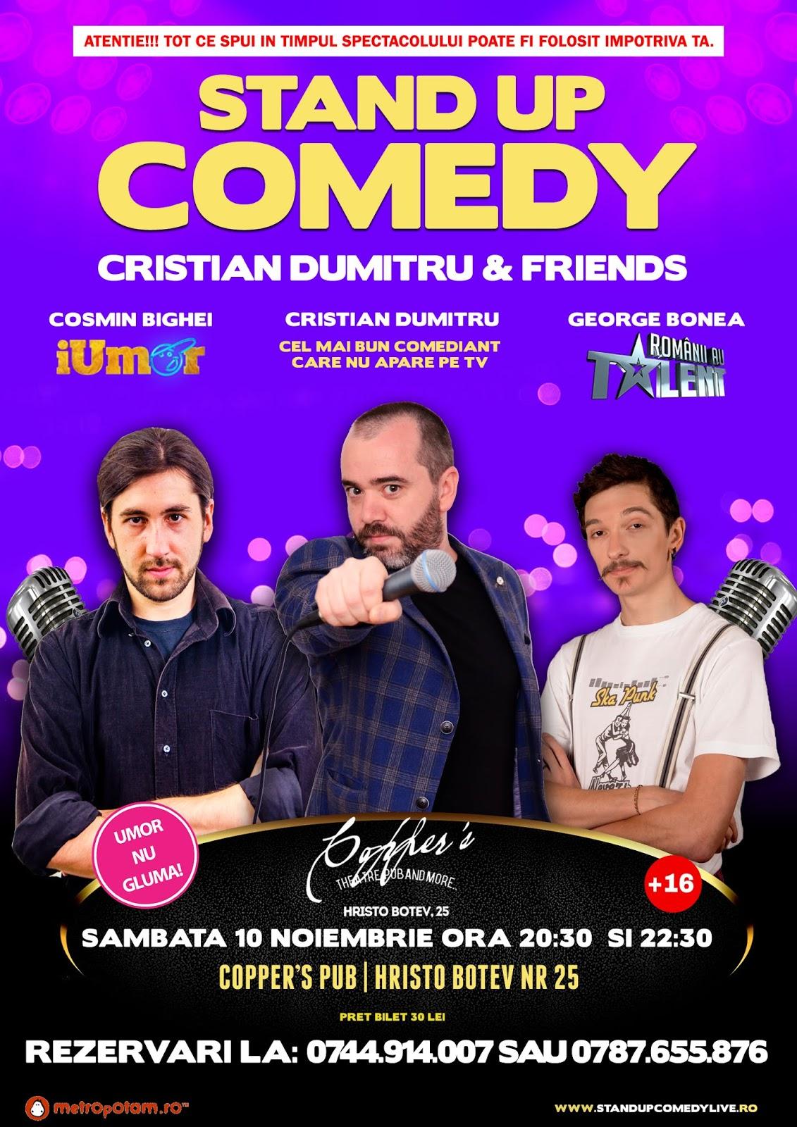 Stand-Up Comedy Bucuresti Sambata 10 Noiembrie (2 show-uri)