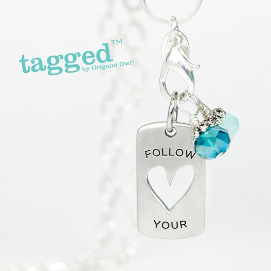 Follow Your Heart Tagged Necklace by Origami Owl from StoriedCharms.com