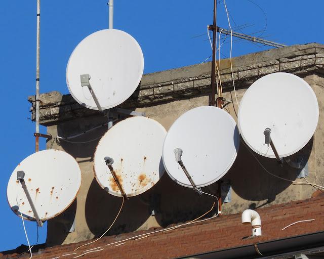 Satellite dishes on a roof, Scali D'Azeglio, Livorno